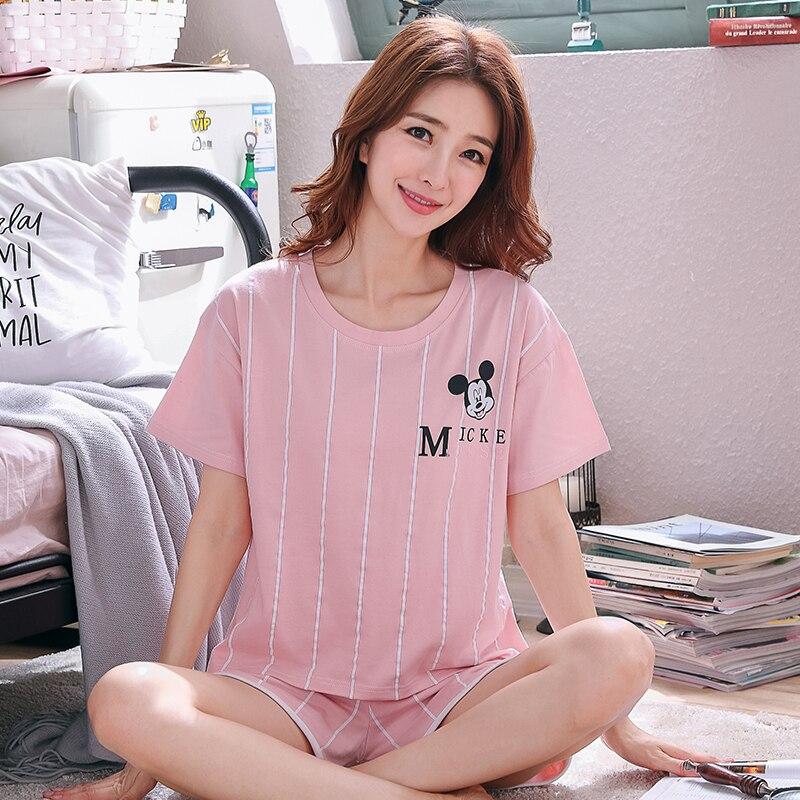 Women Comfortable Cotton Pajama Set summer new Short Sleeve Sleepwear Suit Girl Print Pyjama Set Womens Nightshirt Sets Outwear