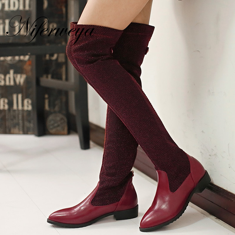 2016 Fashion women winter shoes big size 30-50 low heel botas Slip-On stretch thin leg Over-the-Knee boots 30 31 32 33 HQW-A98 low heel thin high leg elastic women s boots over the knee socks boot shoes