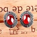 Silver Earrings garnet Topaz Onyx Gems Earrings Clip Cord ear ear clip folk style fashion jewelry