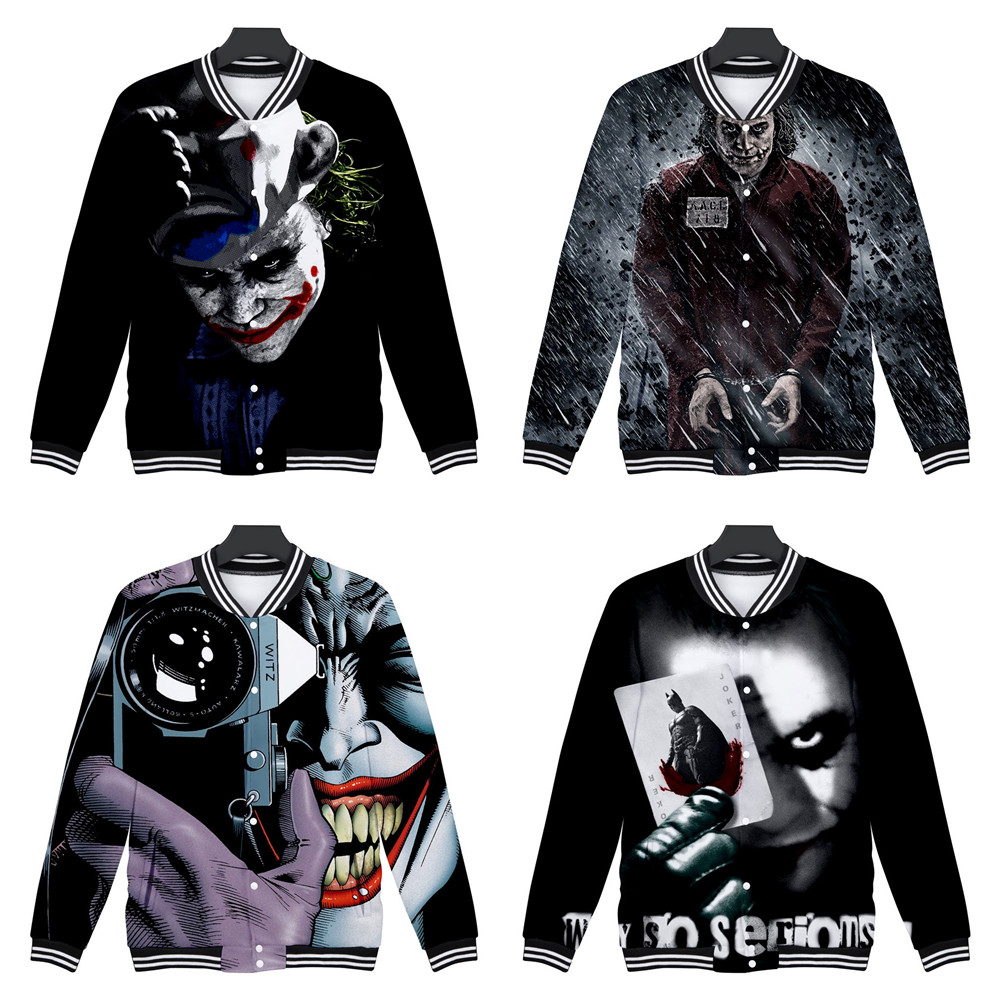 clown Harleen Quinzel Joker Baseball uniform Cosplay  3d digital printing clown Joker Sweatshirts Halloween carnival Costumes