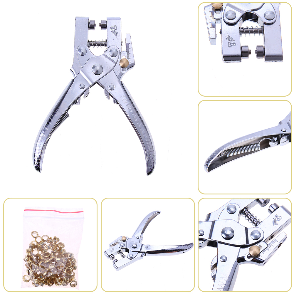 Rivets Eyelet Hole Punch Hand Pliers with 100pcs Easy Press Eyelets Grommets Belt Holes Punched Punching Plier Hole Pliers Tool