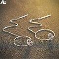 Morning Agent Fashion light round Silver Chain earring 925 Silver Zircon earring Women Girl
