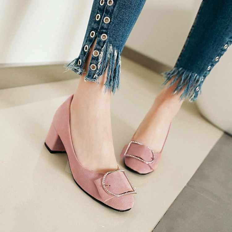 BigSize9 10 11 12 Wanita Sepatu Hak Tinggi Sepatu Wanita Pompa Grinding Suede Kekasaran Tumit Rendah Sisi Dangkal -Mulut Bor Air
