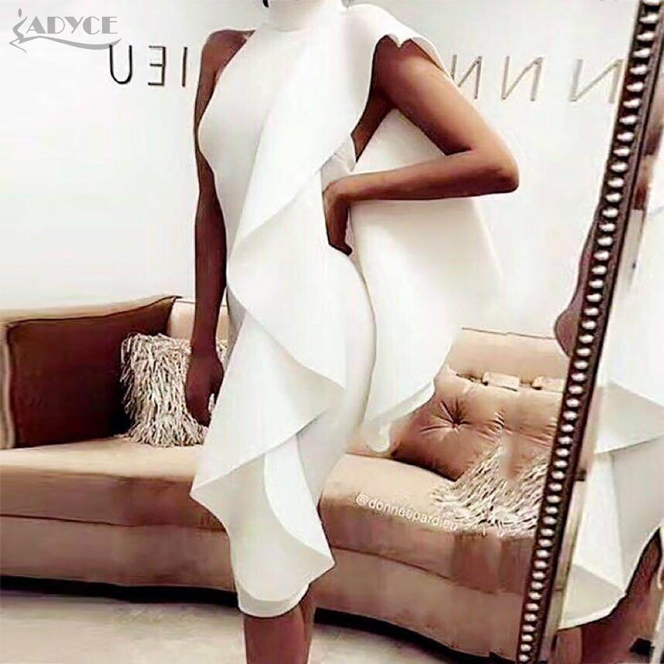 Adyce 2017 New Style Winter Dress Women Sexy White Sleeveless Patchwork Ruffles Mini Bodycon Vestidos Party Dresses Clubwear
