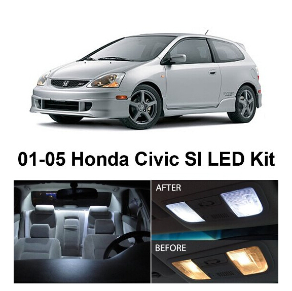 Free Shipping 7Pcs/Lot car-styling Xenon White Package Kit LED Interior Lights For Honda Civic SI Only 2001-2005 континент миланский орех