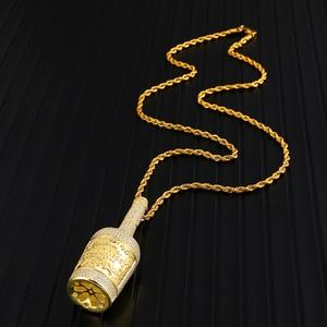 Image 3 - アイスアウトブリンブリンシャンパンボトルラインストーンロープチェーンゴールドカラーペンダント & ネックレス男性ヒップホップジュエリードロップシッピング