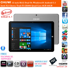 En Stock 12 pulgadas Chuwi Hi12 Windows10 de Doble Sistema Operativo Android 5.1 cereza Trail-T3 Z8300 Quad Core 4 GB RAM 64 GB ROM HDMI Tablet PC