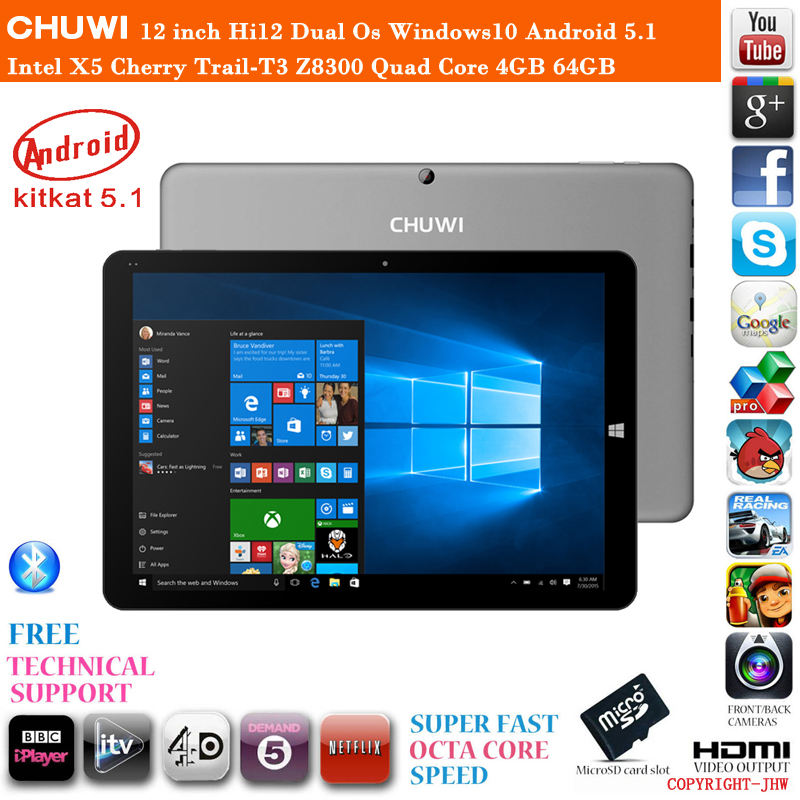 In Stock 12 inch Chuwi Hi12 Dual Os Windows10 Android 5.1 Cherry Trail-T3 Z8350 Quad Core 4GB RAM 64GB ROM HDMI Tablet PC