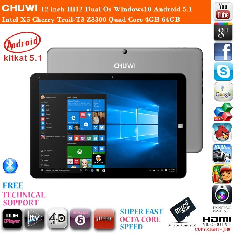 In Stock 12 inch Chuwi Hi12 Dual Os Windows10 Android 5.1 Cherry Trail-T3 Z8350 Quad Core 4GB RAM 64GB ROM HDMI Tablet PC