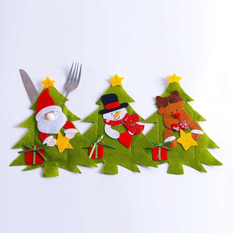 Santa Mũ Tuần Lộc Giáng Sinh Năm Mới Bỏ Túi Dao Muỗng Nĩa Dao Kéo Giá Đỡ Túi Nhà Đảng Bàn Ăn Tối Trang Trí Bàn Ăn 62419