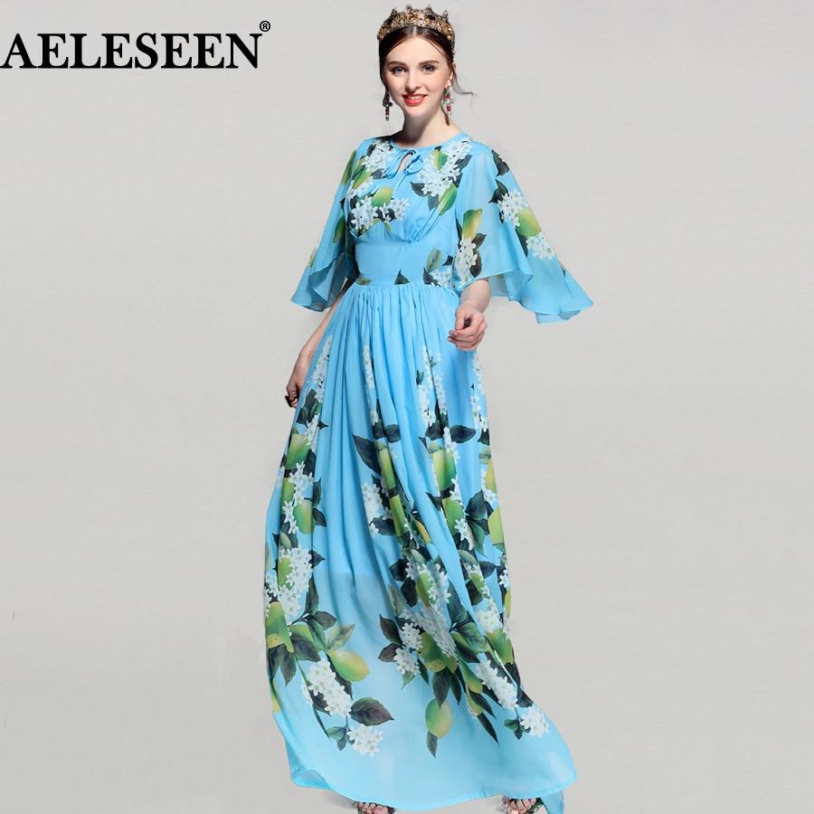 37ae4e25baf51 Blue Lemon Print Maxi Chiffon Dress 2018 Half Bats Sleeve Vintage Bohemian  Runway Summer Dress Long Women