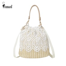 FUNMARDI Fashion Lace Straw Handbags Women's Shoulder Bags Woven Bucket Bag Totes Elegant Ladies Beach Crossbody Bags WLHB1918