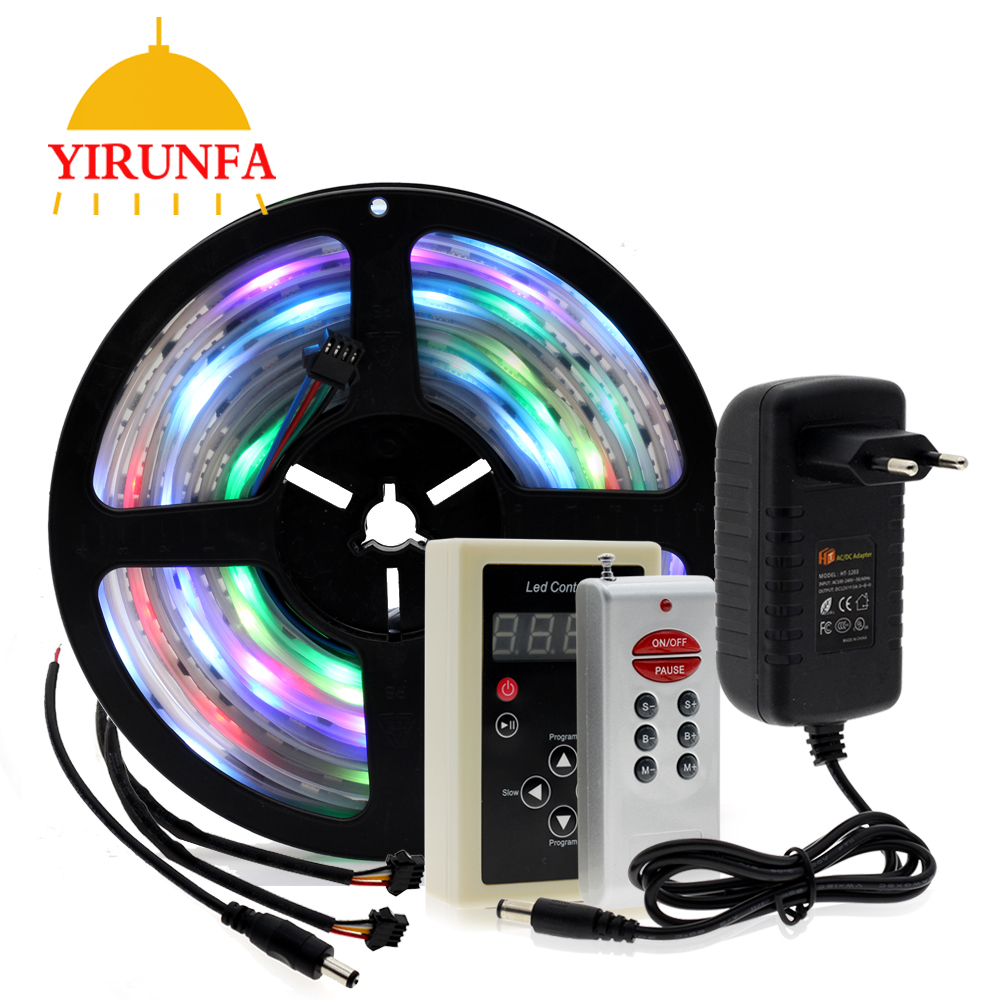 6803 IC Dream couleur RGB LED bande 5050 30 LED/m IP67 étanche 5 M + 133 programme RF contrôleur magique + adaptateur