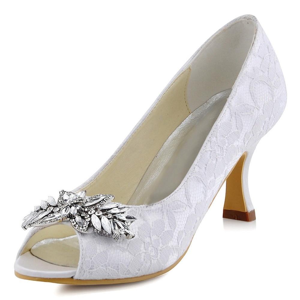 HP1538 White Ivory Women shoes Peep Toe comfortable Low Heels Party Pumps  Crystal Satin Bridesmaids Bridal WeedingShoes EU35-42 5e41de436e23