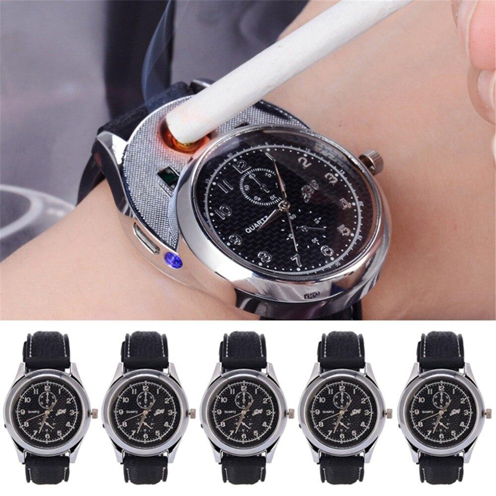 5 pièces USB chargeur briquet montre coupe-vent sans flamme allume-cigare décontracté hommes montres montres à Quartz erkek kol saati 47