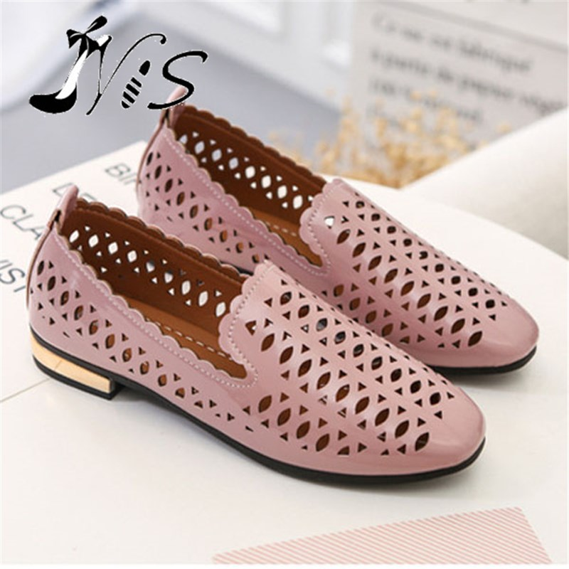 NIS Ladies Flat Shoes, Pink/White Sweet Hollow Out Flats, PU Leather Slip On Shoes For Women, Summer Breathable Zapatos Mujer  nis women air mesh shoes pink black red blue white flat casual shoe breathable hollow out flats ladies soft light zapatillas