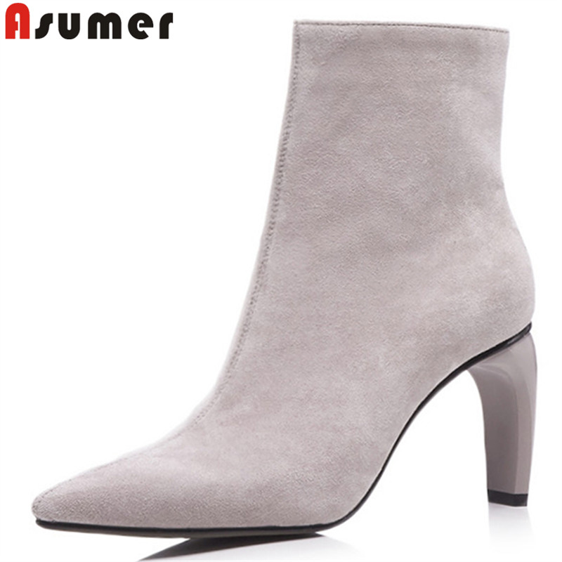 ASUMER 2018 fashion autumn winter boots women pointed toe zip ankle boots high heels ladies suede leather boots black asumer black fashion 2018 autumn winter boots women round toe zip mixed colors ankle boots flat with suede leather boots