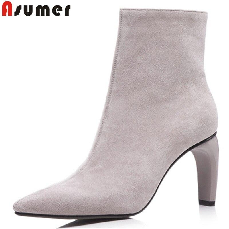 ASUMER 2018 mode automne hiver bottes femmes bout pointu zip bottines talons hauts dames daim cuir bottes noir