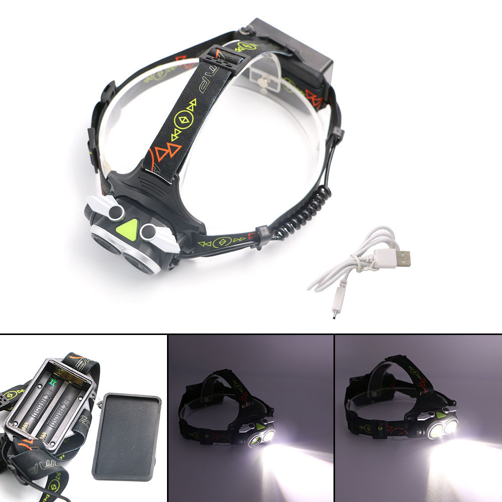 L2 LED 2 Heads USB Headlight Headlamp Rechargeable 2*XML-L2 LED Zoom Focus Power Display Head Light Lamp Use 18650 + USB Cable sitemap 2 xml