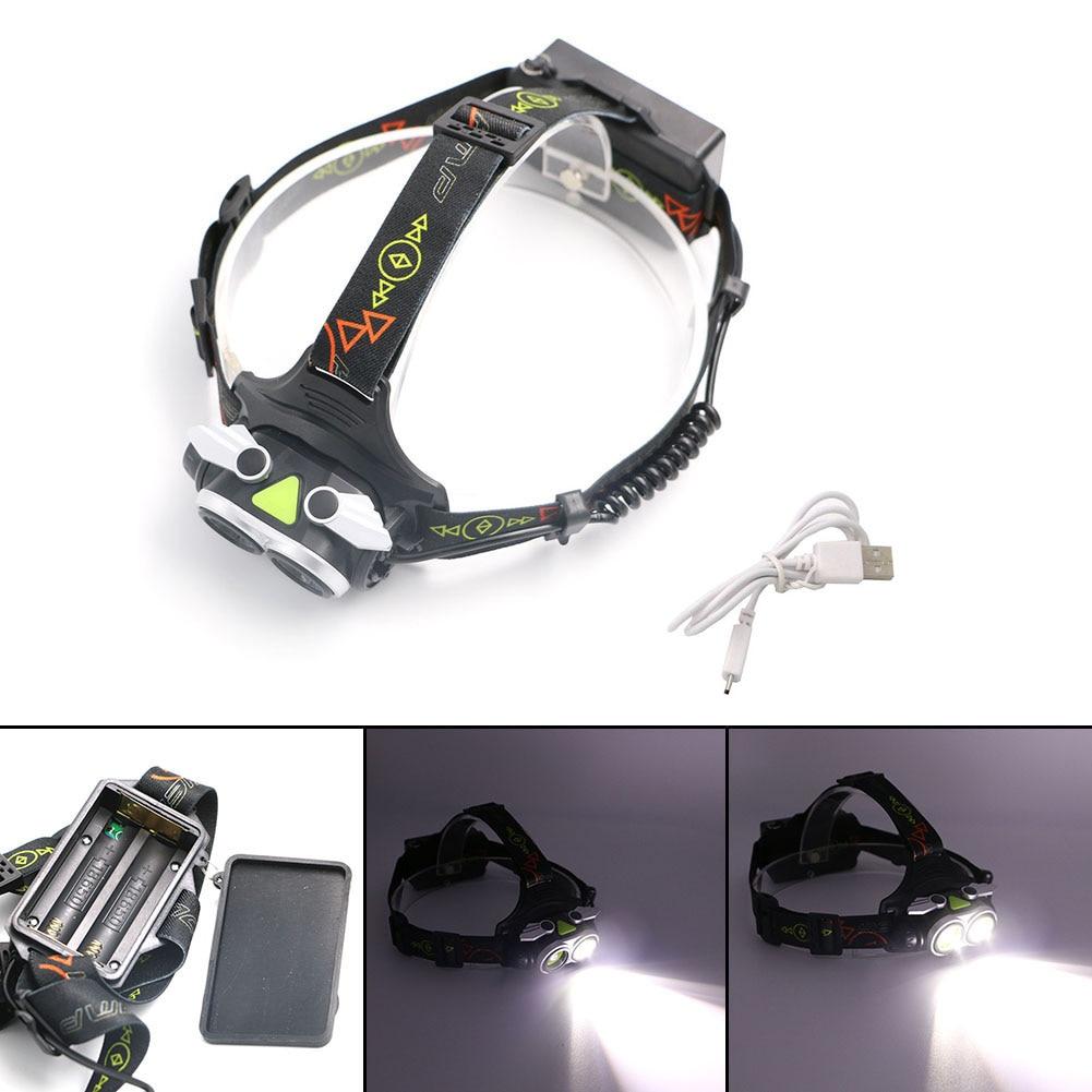 L2 LED 2 Heads USB Headlight Headlamp Rechargeable 2*XML-L2 LED Zoom Focus Power Display Head Light Lamp Use 18650 + USB Cable фонарик 10 xml l2 l2 2500lm 5 18650 3xaaa