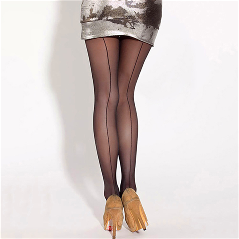 743c714bc8f Sexy Women s Ultra Sheer Transparent Back Line Pattern One Size Seam  Breathable Elastic Tights Stockings Pantyhose