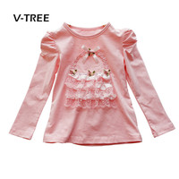 V TREE Baby Girls T Shirt Long Sleeve Lace Shirt For Girl Full Sleeve Tops Tees