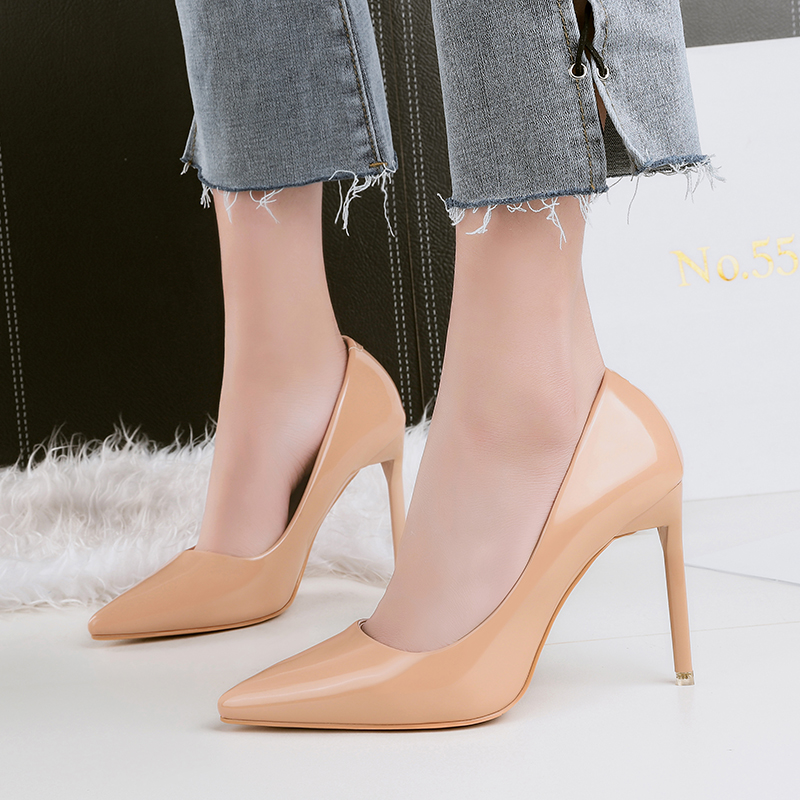 2018 Women 10cm High Heels Valentine Prom Nude Pumps Classic Luxury Designer Lady Shoes High Heels Female Glossy Scarpins Pumps