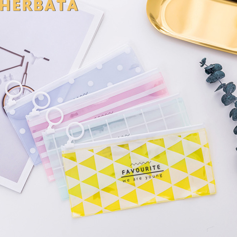 Korean Stationery Little Fresh Ring Flat Pull  Translucent Pencil Bag  Storage Bag Student Stationery Escolar Papelaria CL-1999