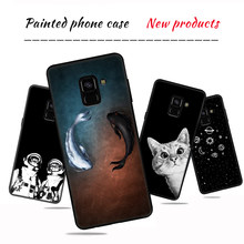 Cat & Fish Caso Telefone Padrão Para Samsung Galaxy S8 S9 A6 A8 Plus 2018 Note8 9 S6 S7 Borda a3 A5 A7 2016 J5 2017 J7 J3 Capa Capa(China)