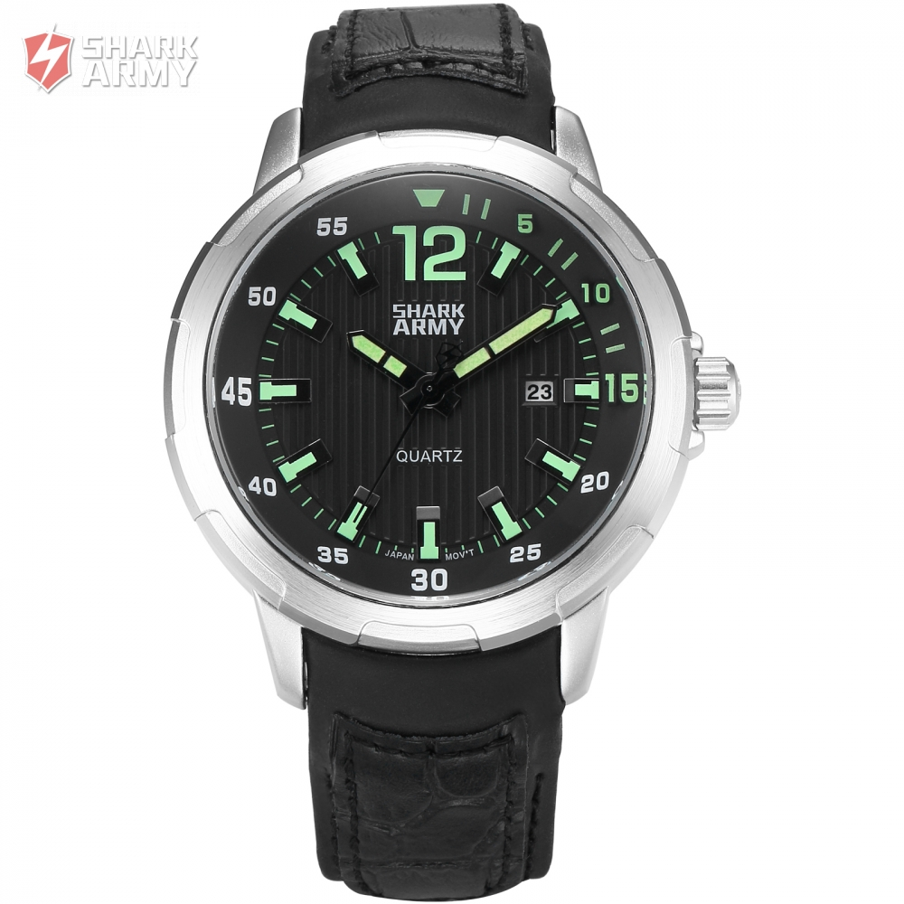 AVENGER Shark Army Luxury Brand Male Military Wristwatches Auto Date Black Leather Strap Clock Mens Sports Quartz Watch / SAW152 new chenxi brand dial male clock hours hand date black leather straps mens quartz wrist watch 3atm waterproof wristwatches man