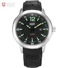 AVENGER Shark Army Luxury Brand Male Military Wristwatches Auto Date Black Leather Strap Clock Mens Sports Quartz Watch / SAW152