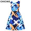 CHICING Женщины Старинные Цветочные Печатных Платья 2016 Осень Лето Рукавов Fit Flared Плиссе Танк Midi Dress Vestidos A1609006
