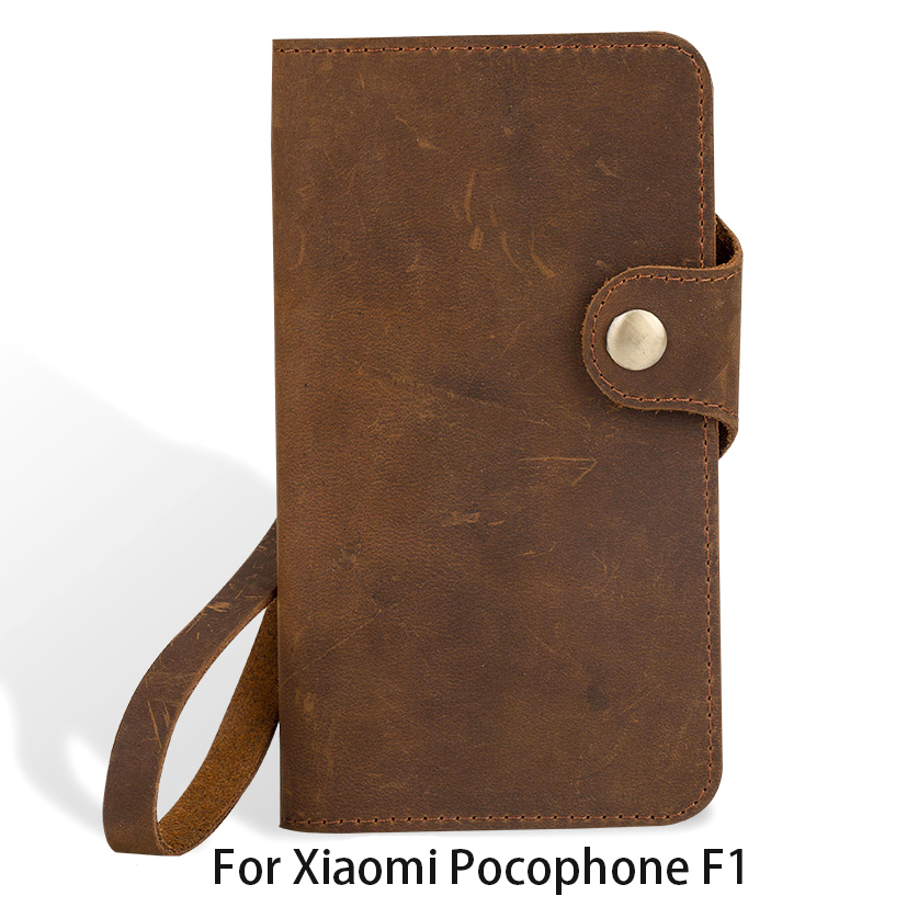 Genuine Leather Flip Phone Case For Xiaomi Pocophone F1 case Vintage leather Cover For xiaomi 5S 6 A1 A2 Max 2 3 Redmi Note 5
