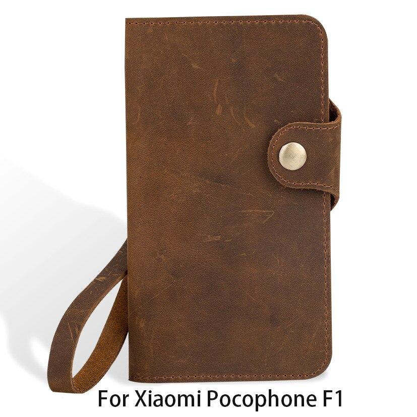 Véritable Cuir Flip Cas de Téléphone Pour xiaomi Pocophone F1 cas Vintage en cuir Couverture Pour xiaomi 5S 6 A1 A2 Max 2 3 Redmi Note 5