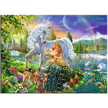 Alice girl Kirin unicorn Figure DIY Digital Painting By Numbers Modern Wall Art Canvas Painting Unique Gift Home Decor 40x50cm(China)