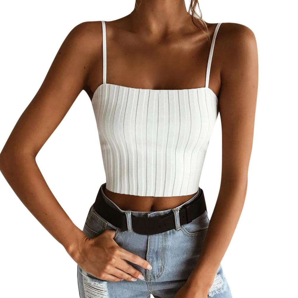 Summer 2019 Women Fashion Sexy Slim Solid Tank Crop Tops White Spaghetti Strap Top T Shirt Camis Crop Top Women haut femme plus size women in leather