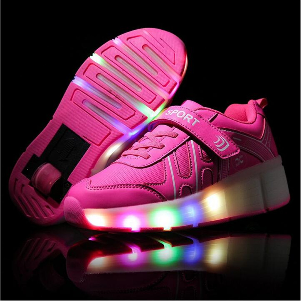 Roller shoes cheap - Led Usb Charged Child Roller Shoes Girls Boys Roller Sneaker With Wheels Led Kids Fashion Roller