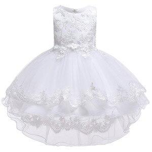 Image 5 - Kinder Geburtstag Kleidung Stickerei Spitze Großen Bogen Baby Mädchen Kleid für Hochzeit Kinder Kleider für Mädchen Hinter Kleid