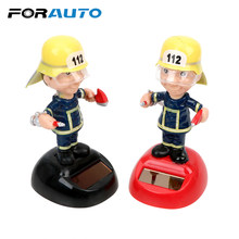 FORAUTO Brandweer Vorm Auto Ornament Swingende Auto Accessoires Dashboard Decoratie Zonne-energie Dancing Speelgoed Auto Styling(China)