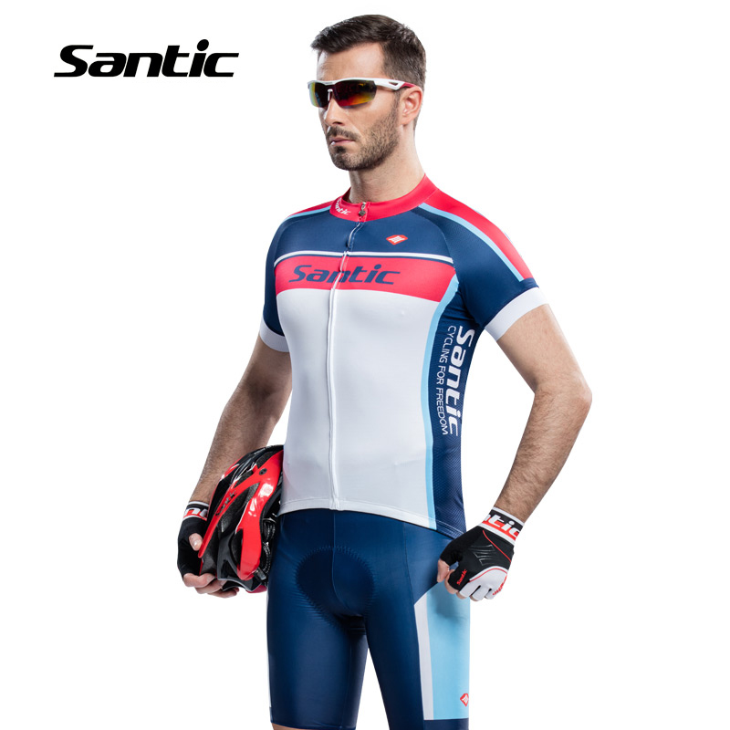 ФОТО Santic 2017 Pro Racing Team Men Cycling Set Short Sleeve Cycling Suits Clothes&Shorts 4D Padded Breathable Ropa Ciclismo Hombre