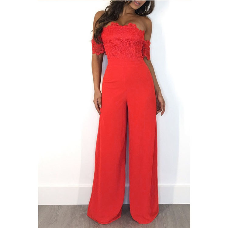 NEW Solid Color Lace Splice Short Sleeve Sexy Jumpsuit Lady Summer Slash Neck Backless Party Romper Long Wide Leg Overall K9219