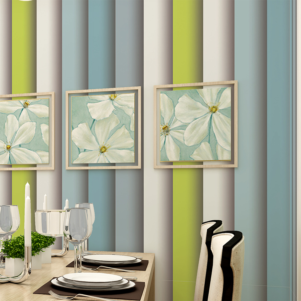 HaokHome Modern Stripe Wallpaper Rolls Blue/Green/Grey Geometric Column 3D Realistic Murals Home Bedroom Living room Decoration blue earth cosmic sky zenith living room ceiling murals 3d wallpaper the living room bedroom study paper 3d wallpaper