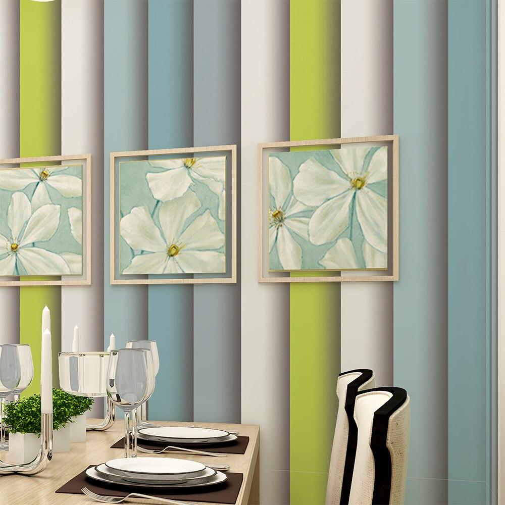 green striped wallpaper living room