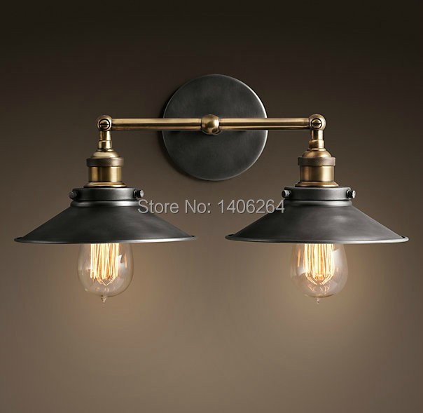 ФОТО 2 Heads Iron Vintage Retro Lamp Edison Loft Wall Light Adjust 22CM For Cafe Bar Hall Coffee Shop Club Store Restaurant Balcony