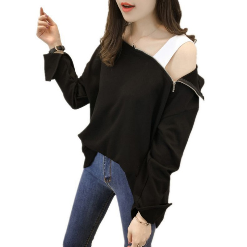 Women Off Shoulder Tshirt Cotton Black Long Sleeve Pullovers Harajuku Loose Casual Female Tops Zipper Slash Neck Hoodie Tee
