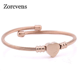 ZORCVENS Fashion 3Colors Jewelry Women's Stainless Steel Twisted Cable Wire Heart Charm Bracelet Bangle