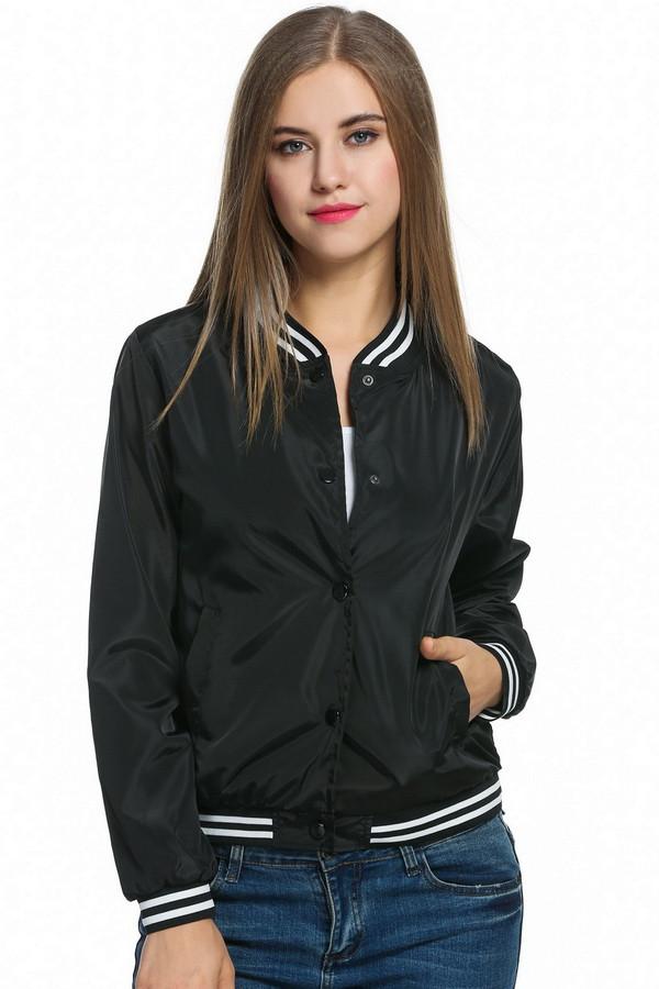 Vintage Bomber Jacket For Womens Black