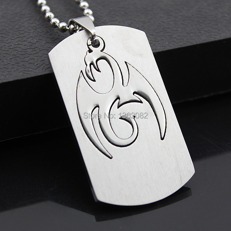 Zodiac Dog Tag Stainless Steel Pendant Necklace: 2 In 1 Cool Men Silver Tone Pterosaur Dragon Dog Tag