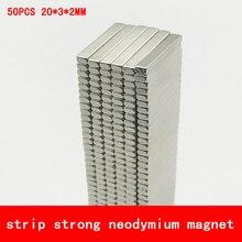 50PCS 20*3*2mm strip strong rare earth neodymium N45 N52 magnet NdFeB magnets