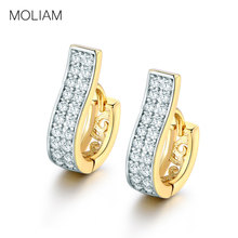 hot deal buy e105d fashion 18k gold platinum crystal trendy hoop earrings simulated diamond jewelry for women birthday valentine gift